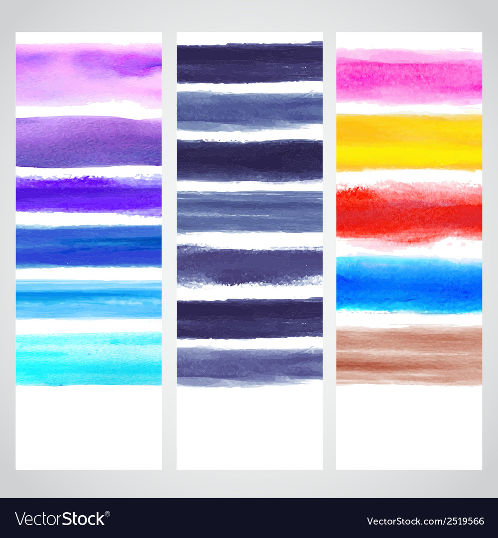 Set of watercolor banners vector | Price: 1 Credit (USD $1)