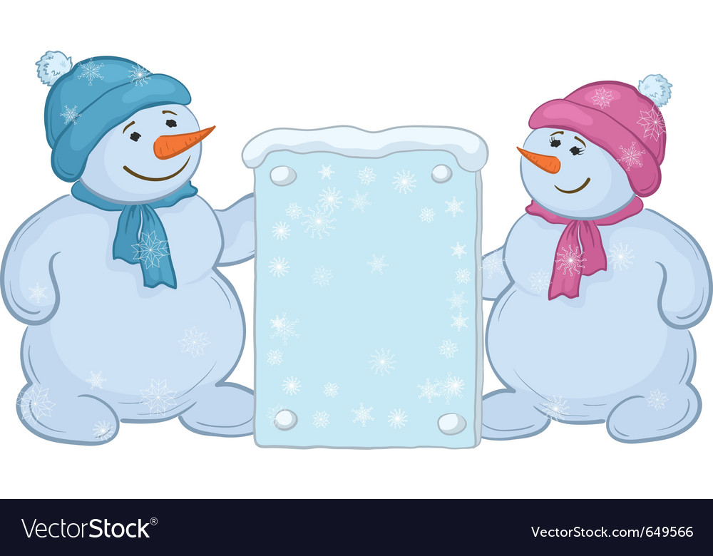 Snowmen boys with sign vector | Price: 1 Credit (USD $1)