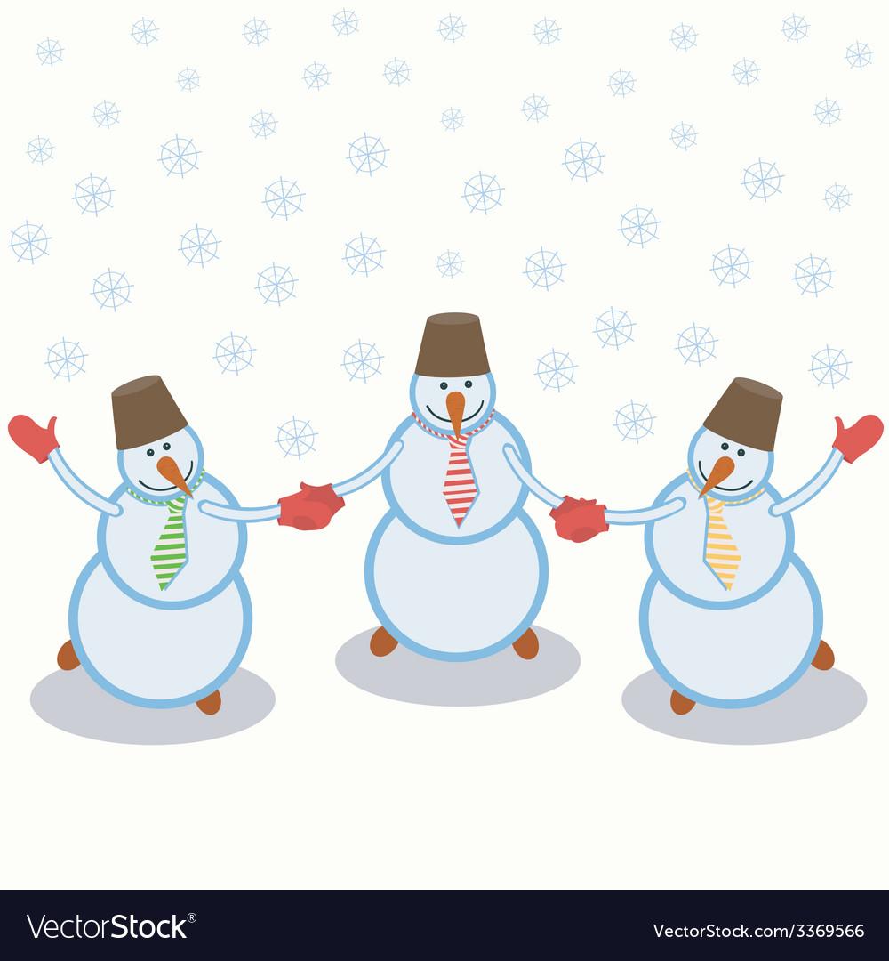 Three cheerful snowmen vector | Price: 1 Credit (USD $1)