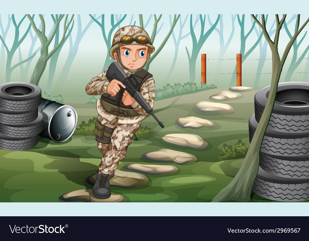A soldier in the jungle vector | Price: 1 Credit (USD $1)