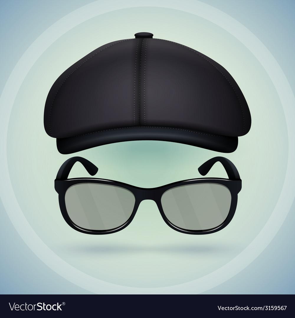 Black cap and eyeglasses vector | Price: 1 Credit (USD $1)