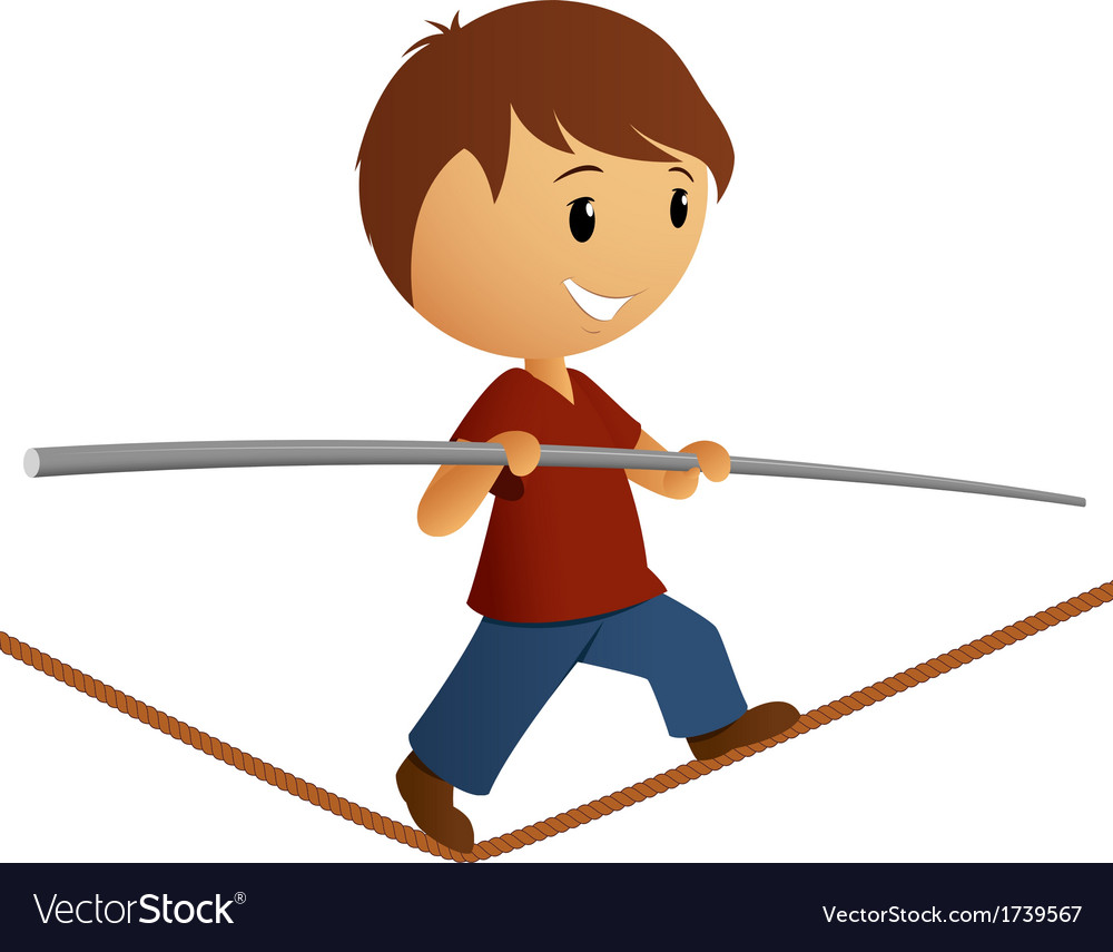 Boy in red shirt balance on the rope vector | Price: 1 Credit (USD $1)