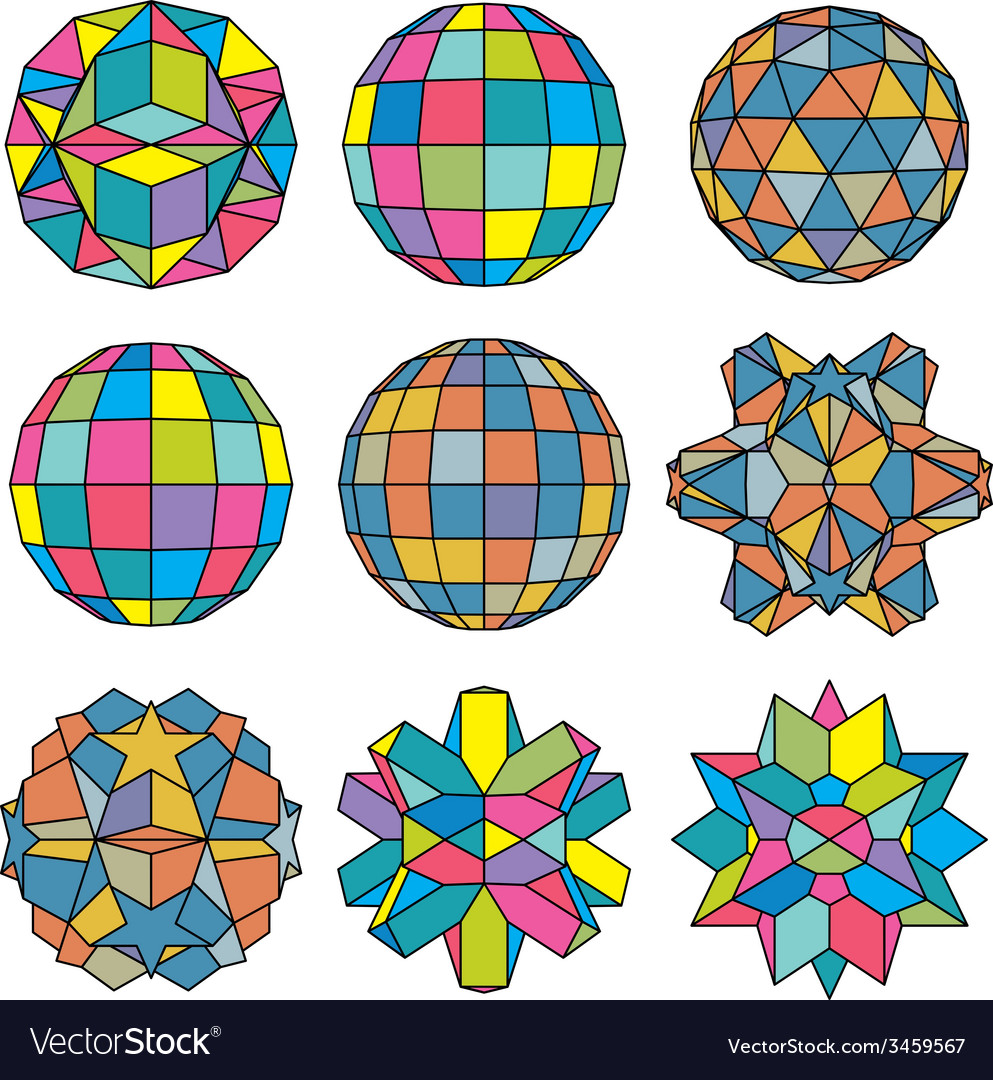 Collection of 9 complex dimensional spheres and vector | Price: 1 Credit (USD $1)