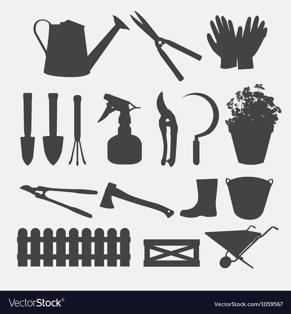 Gardening tools silhouette vector | Price: 1 Credit (USD $1)