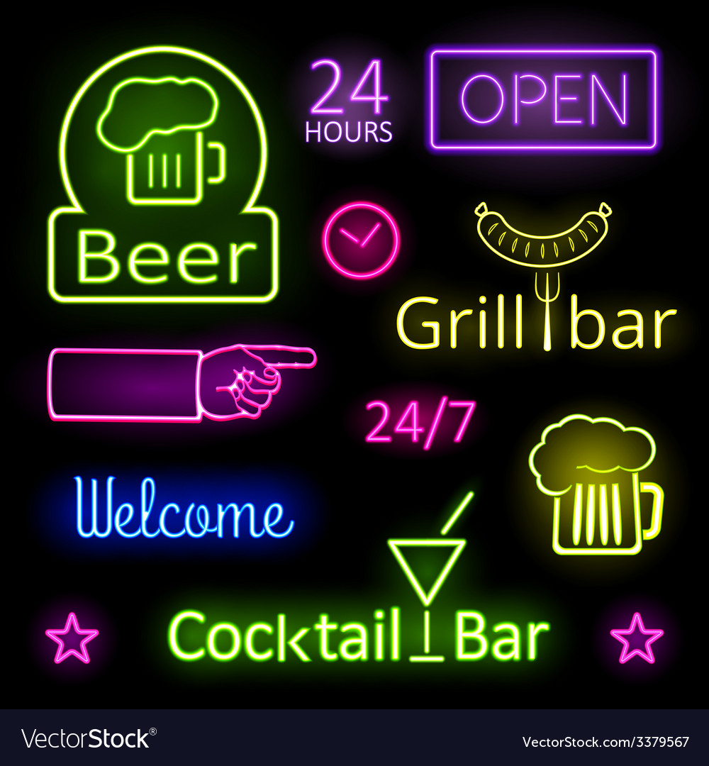 Glowing neon lights bar signs on black background vector | Price: 1 Credit (USD $1)