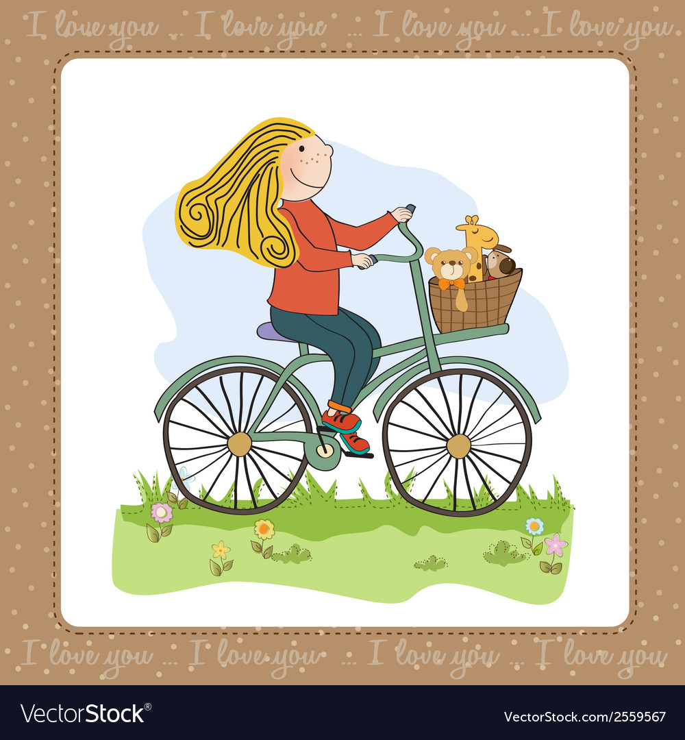 Happy girl on bike vector | Price: 1 Credit (USD $1)