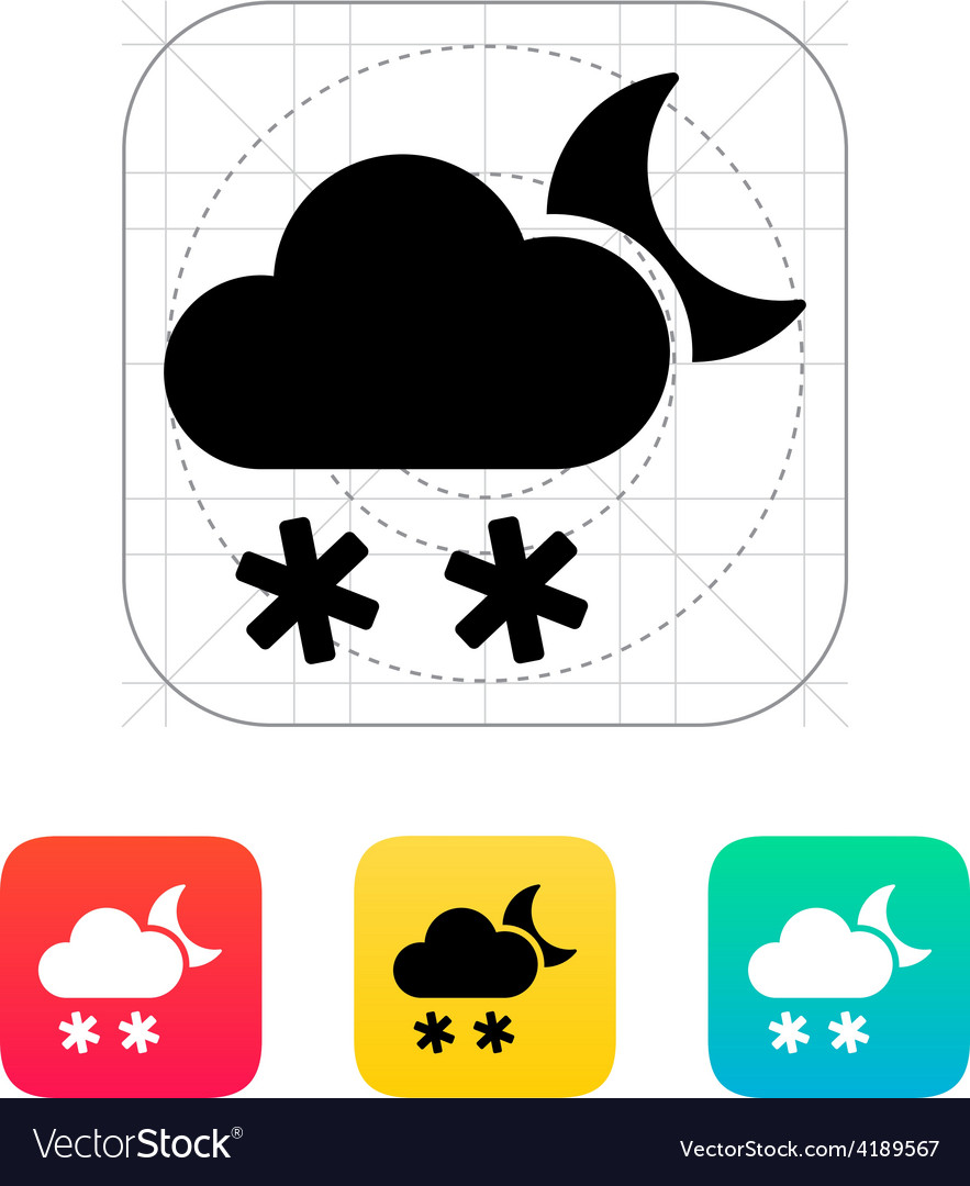 Night snowfall weather icon vector   Price: 1 Credit (USD $1)