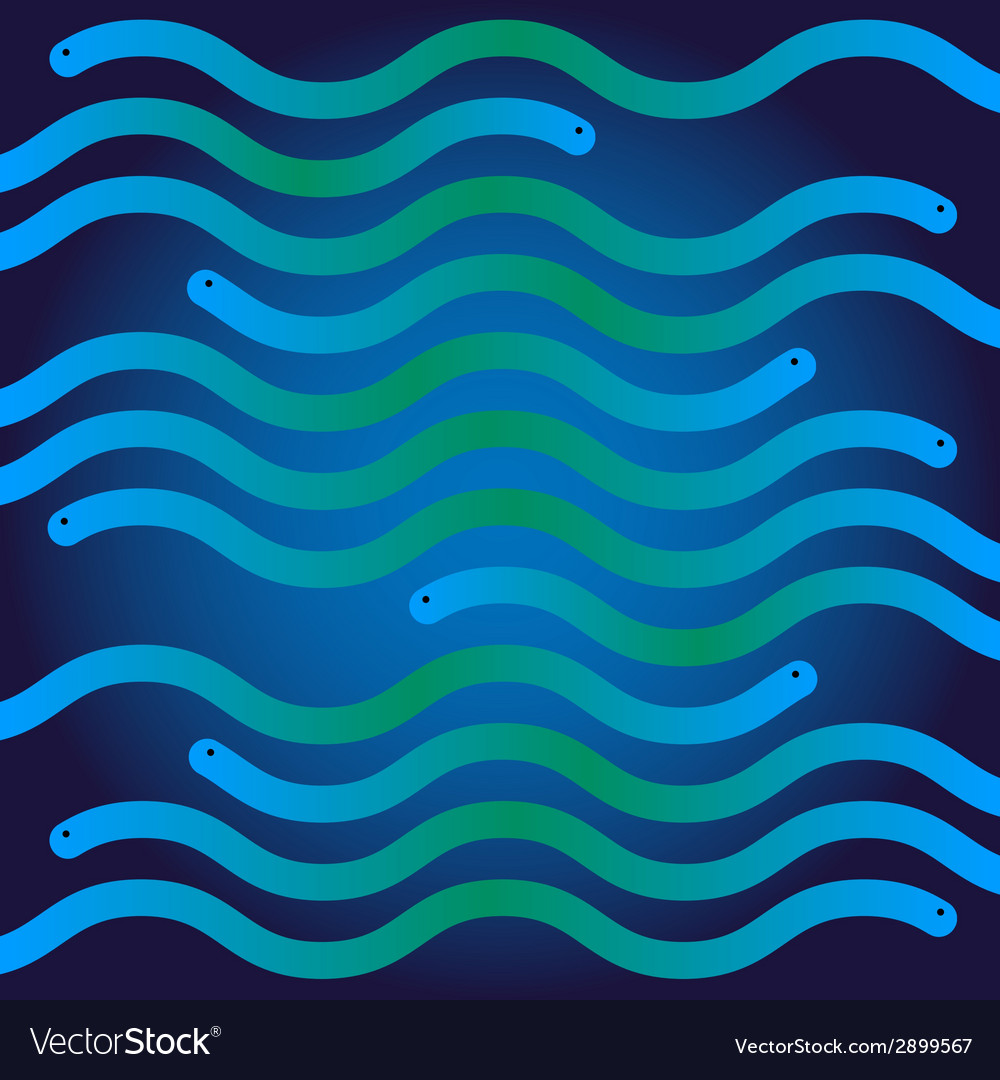 Ripple blue and green snakes like waves vector | Price: 1 Credit (USD $1)