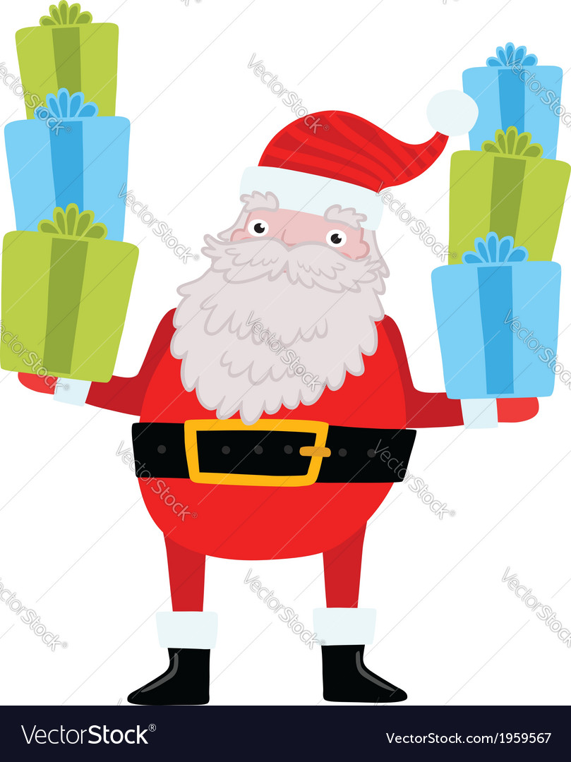 Santa claus with gifts and presents vector | Price: 1 Credit (USD $1)