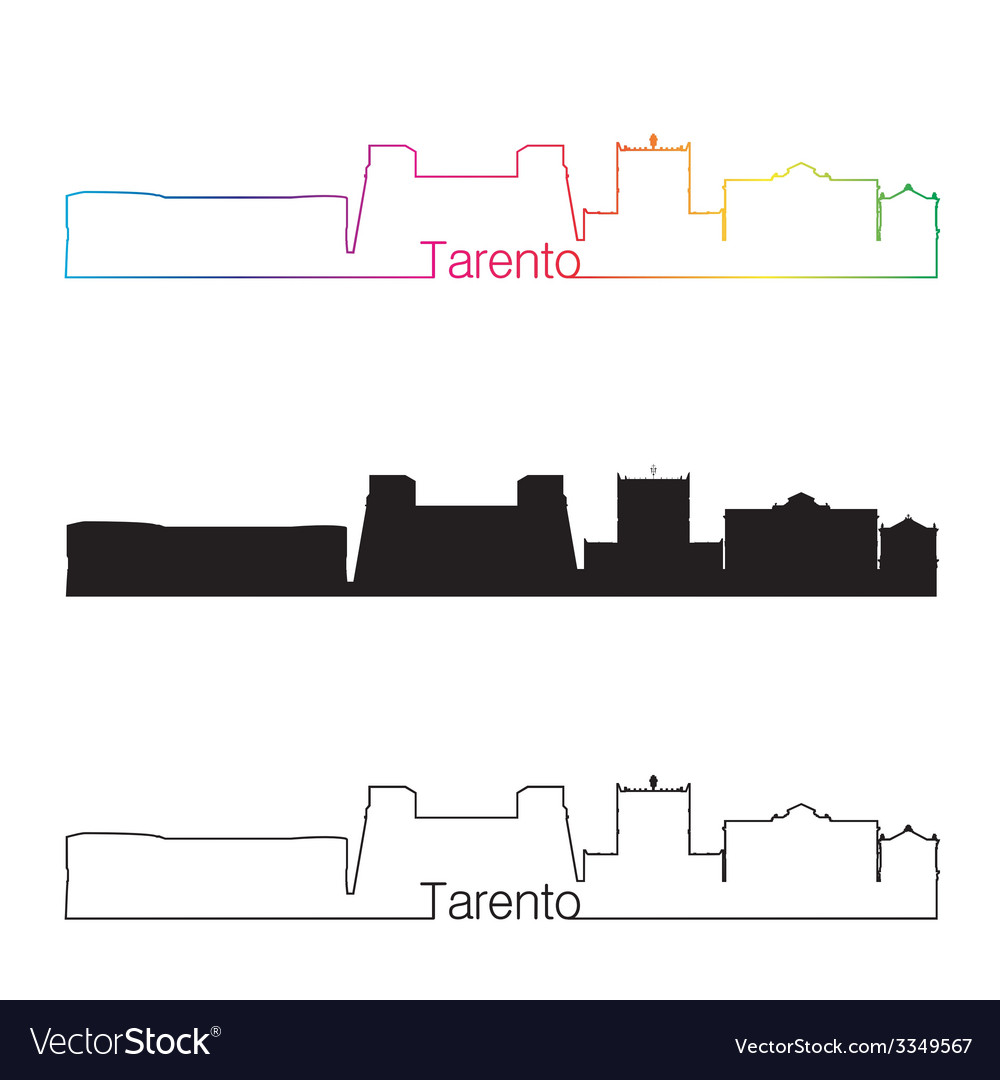 Tarento skyline linear style with rainbow vector | Price: 1 Credit (USD $1)