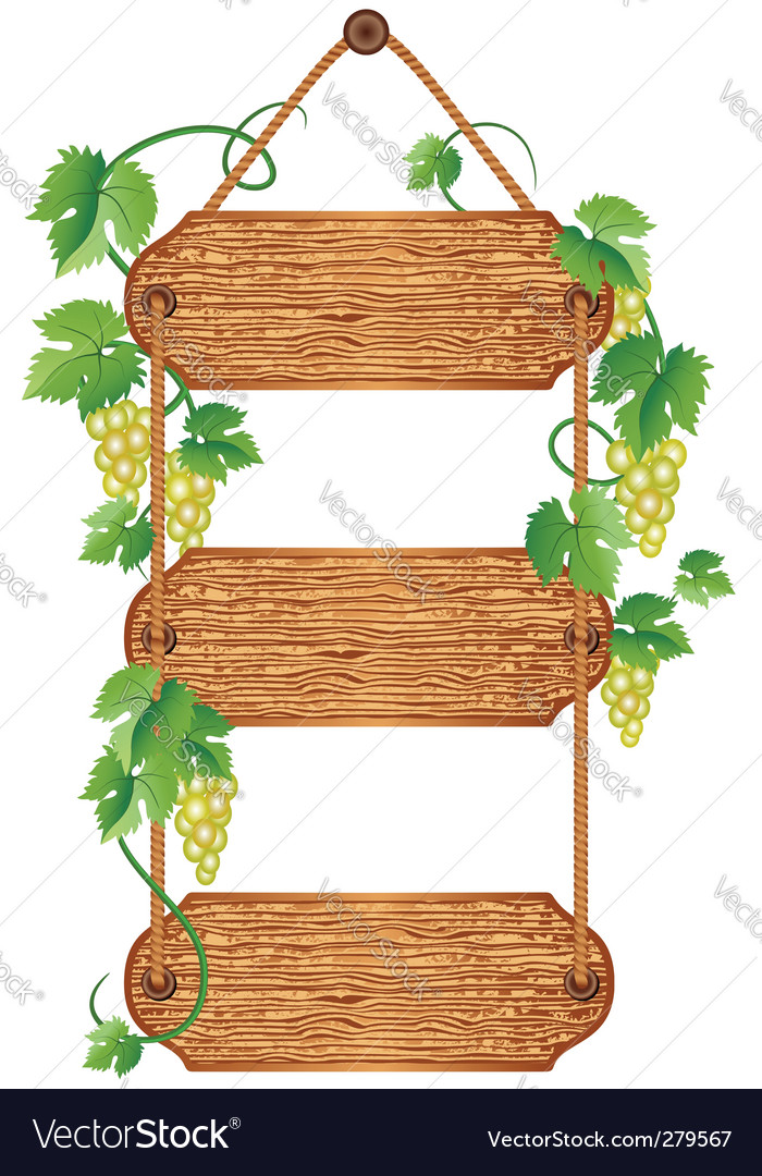 Wooden signboard with grape vector | Price: 1 Credit (USD $1)