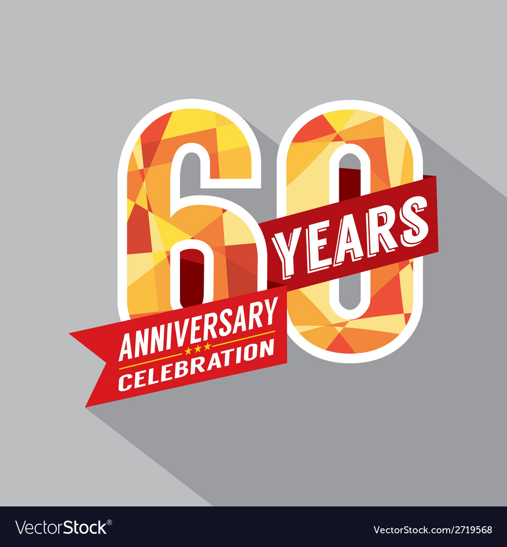 60th year anniversary celebration design vector | Price: 1 Credit (USD $1)