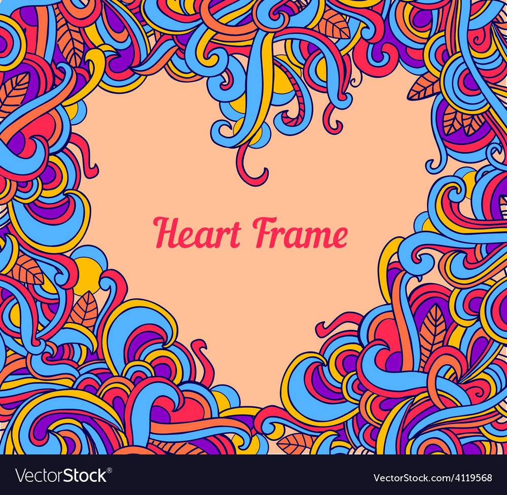 Background with abstract heart frame curls vector | Price: 1 Credit (USD $1)