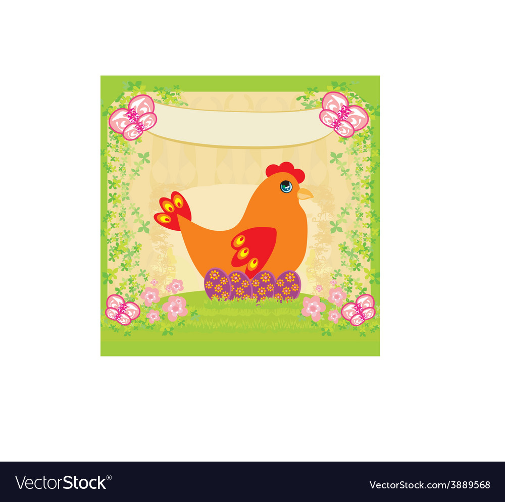 Background with easter eggs and one hen vector | Price: 1 Credit (USD $1)