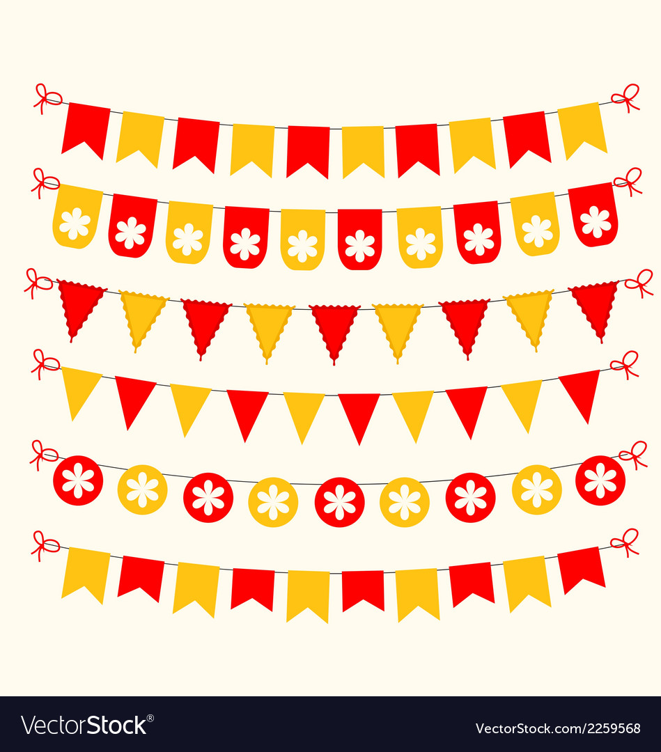Bunting set red and yellow scrapbook design vector | Price: 1 Credit (USD $1)