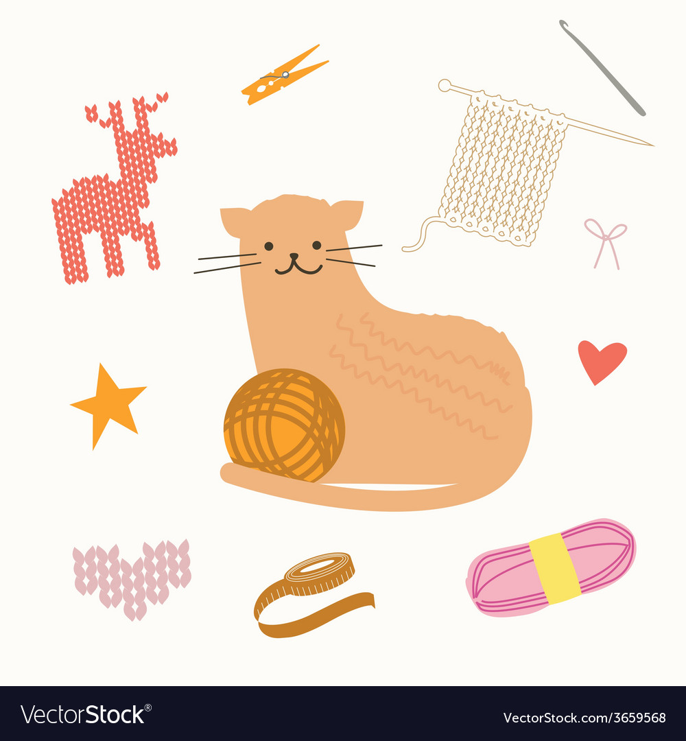 Cat and knit vector | Price: 1 Credit (USD $1)