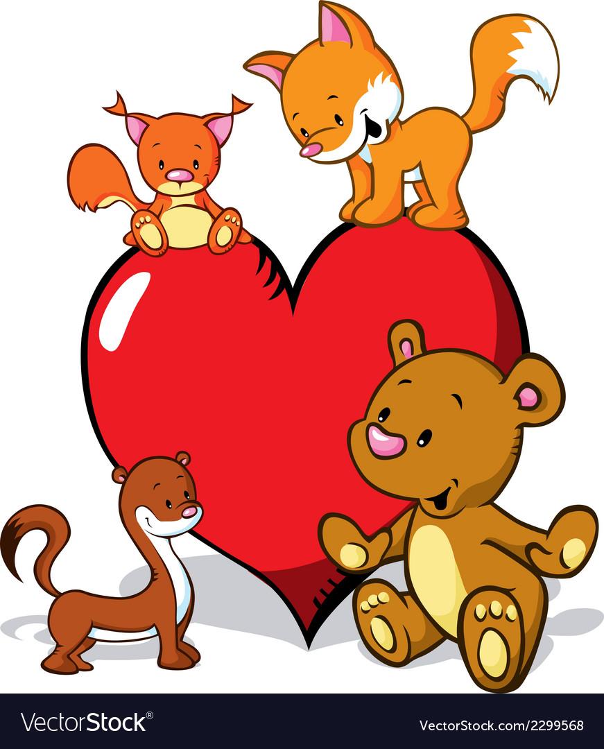 Cute animals cartoon with valentines heart - fox vector | Price: 1 Credit (USD $1)