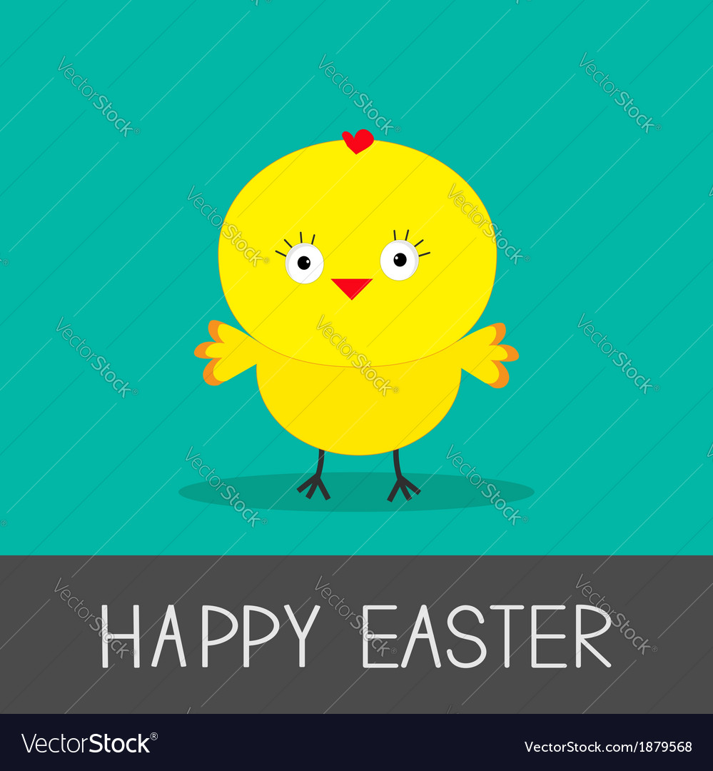 Easter chicken flat design style card vector | Price: 1 Credit (USD $1)