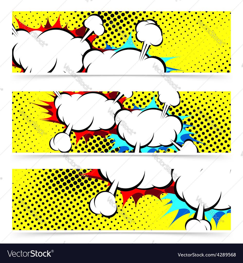 Explosion retro pop art cloud collision concept vector | Price: 1 Credit (USD $1)