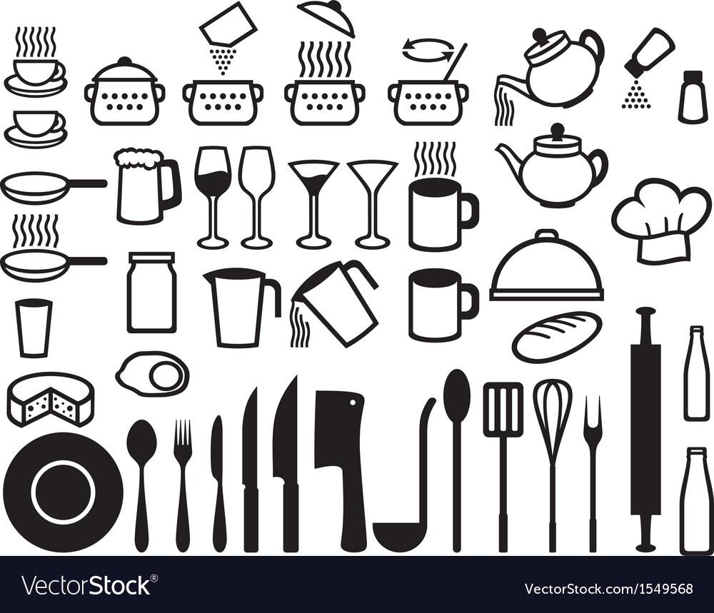 Kitchen icons set vector | Price: 1 Credit (USD $1)