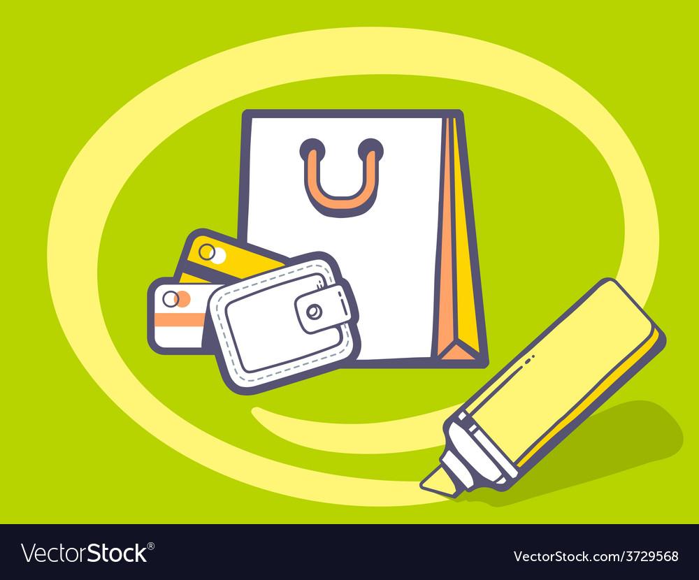 Marker drawing circle around money purse vector | Price: 1 Credit (USD $1)