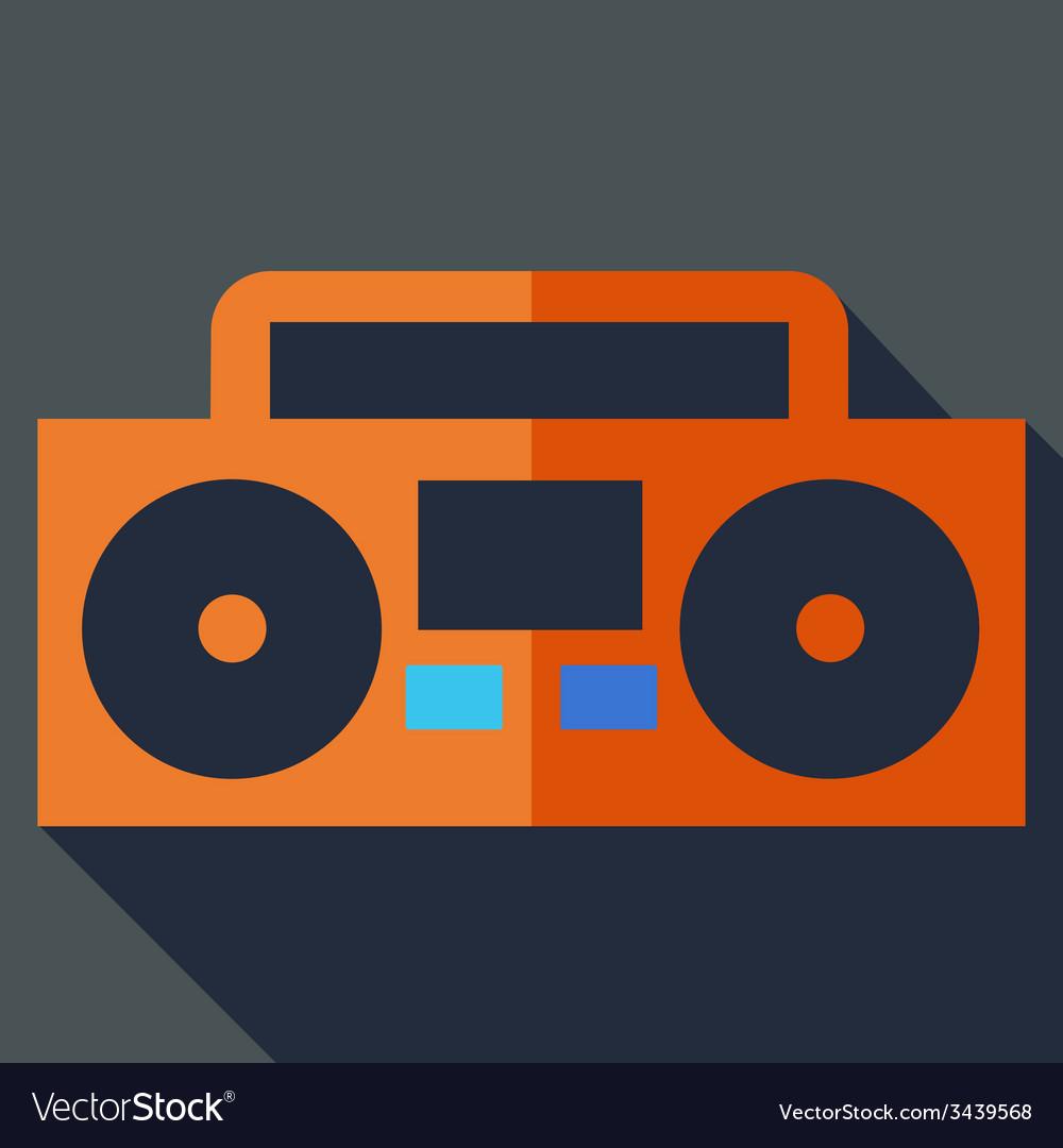 Modern flat design concept icon boom box tape vector | Price: 1 Credit (USD $1)
