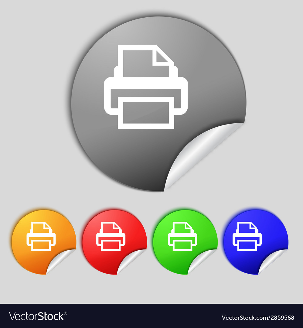 Print sign icon printing symbol set colourful vector | Price: 1 Credit (USD $1)