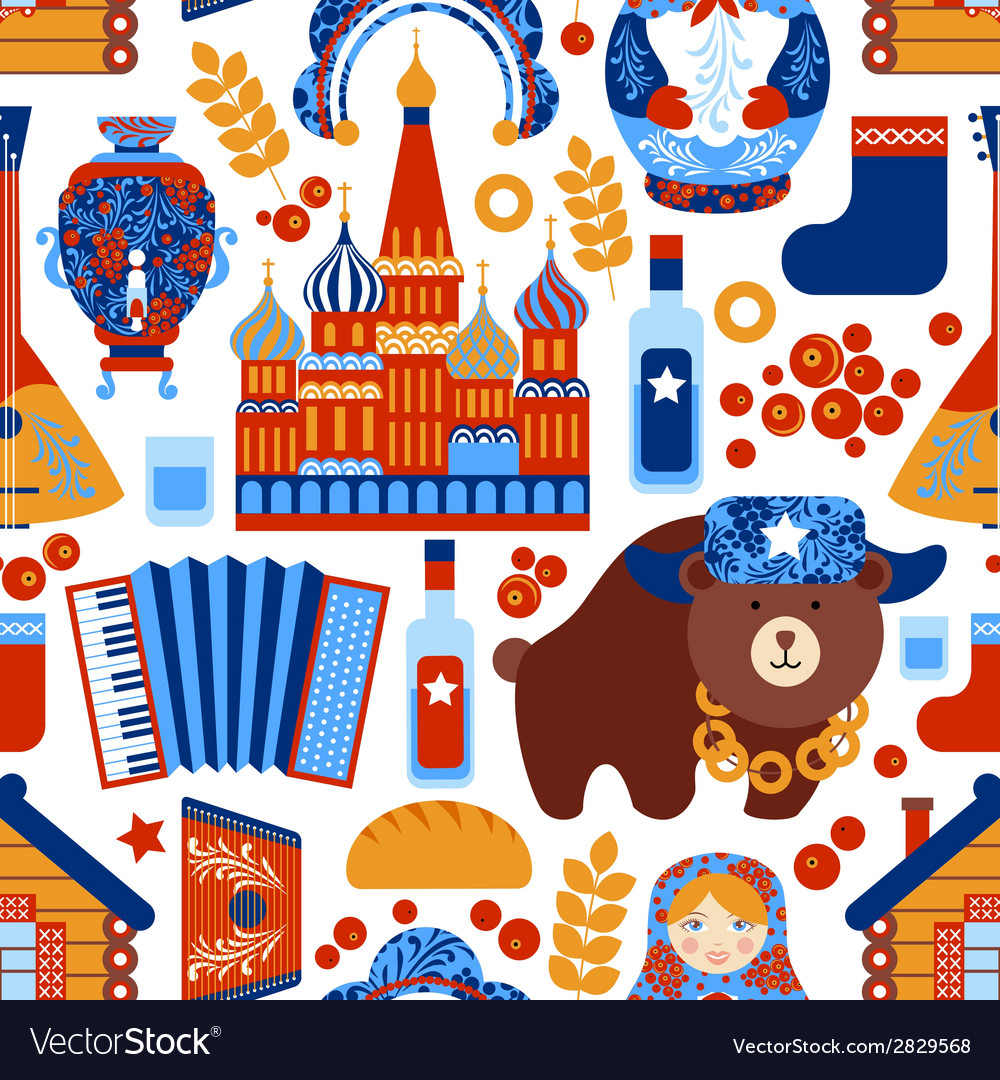 Russia travel seamless pattern vector | Price: 1 Credit (USD $1)