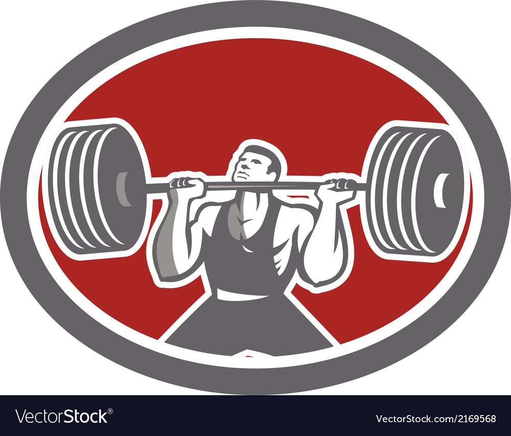 Weightlifter lifting barbell front oval retro vector | Price: 1 Credit (USD $1)