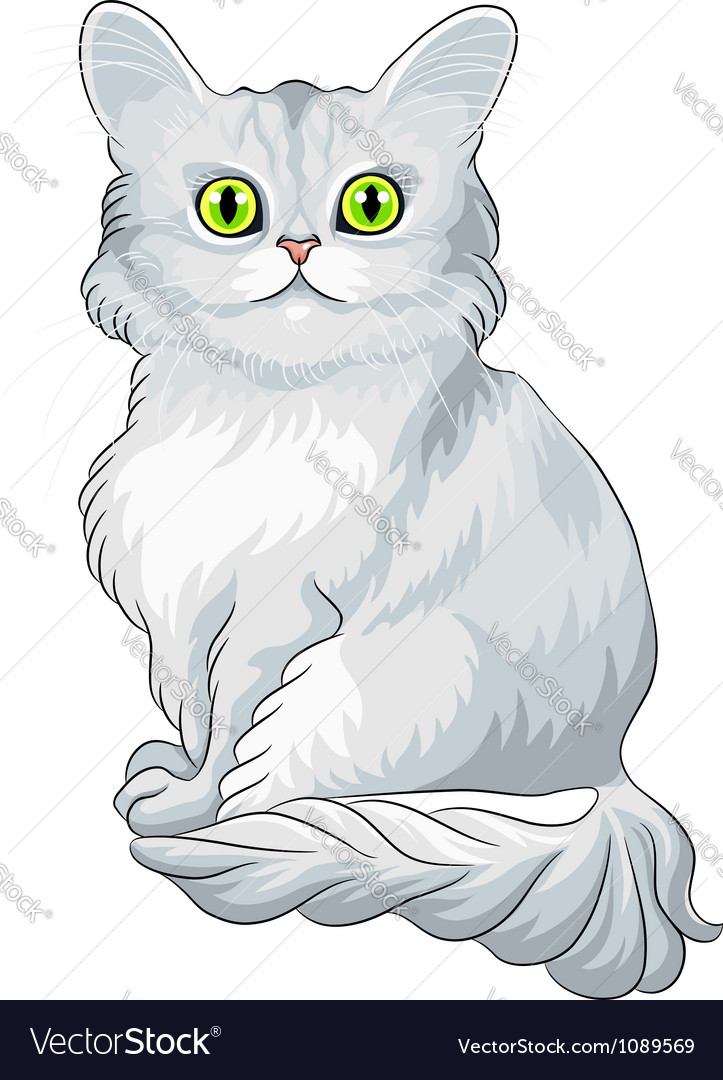 Blue cat tiffany with green eyes vector | Price: 3 Credit (USD $3)