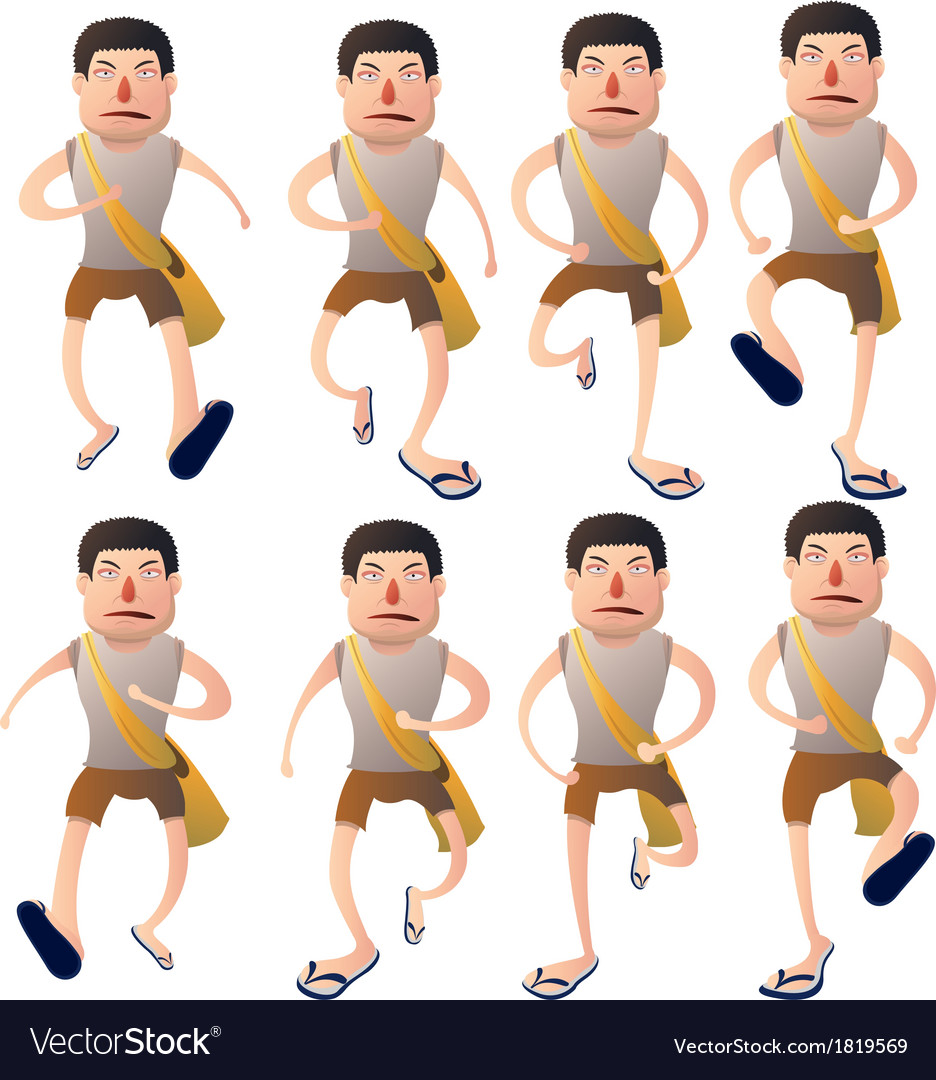 Boy walk cycle vector | Price: 1 Credit (USD $1)