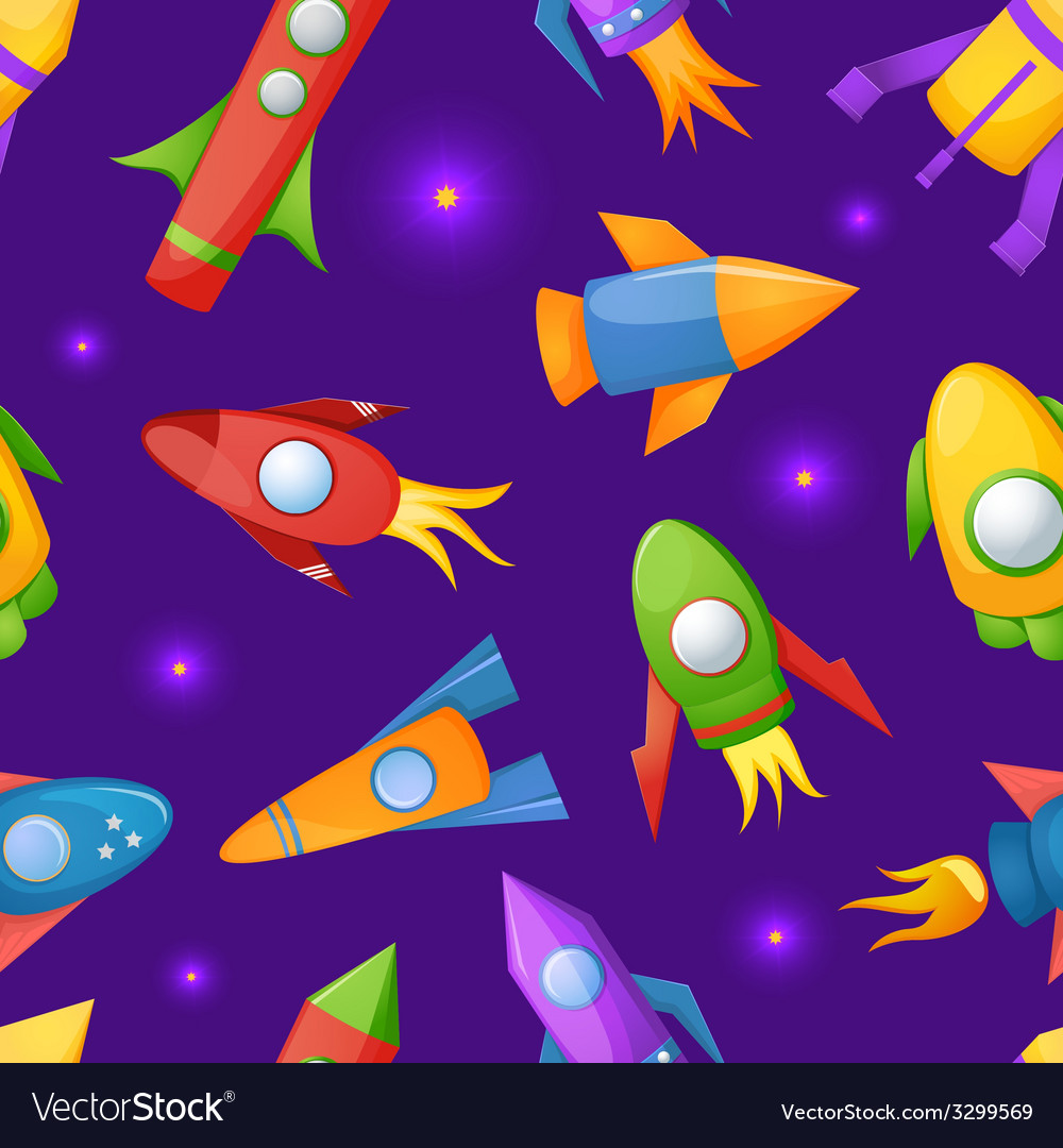 Cartoon rockets 3d seamless pattern vector | Price: 1 Credit (USD $1)