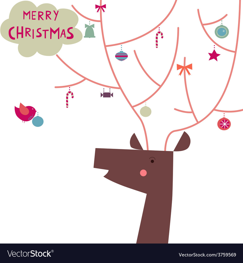 Festive deer with the decorated horns vector | Price: 1 Credit (USD $1)