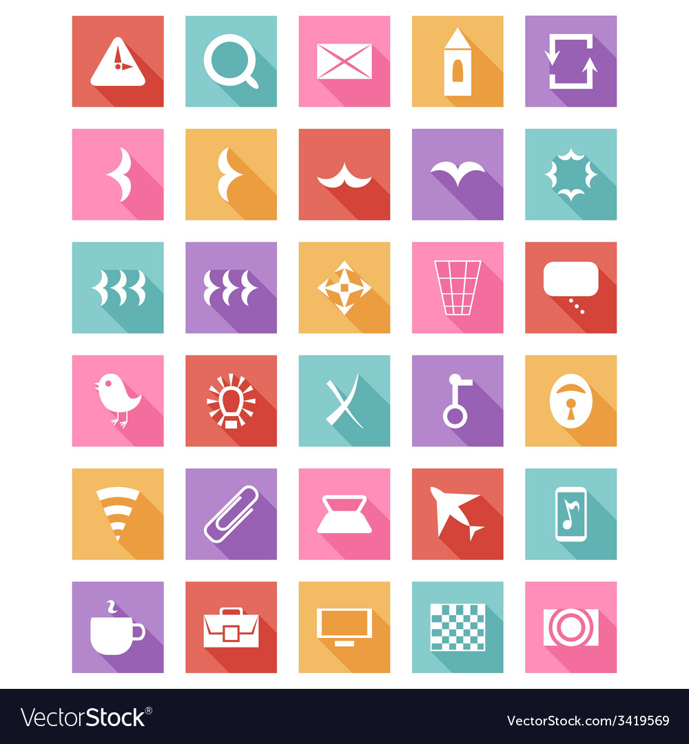 Flat icon set collection with long shadow vector | Price: 1 Credit (USD $1)