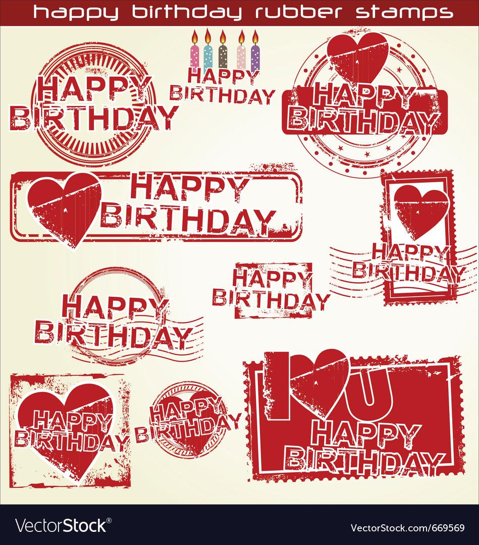 Happy birthday grunge stamp vector | Price: 1 Credit (USD $1)