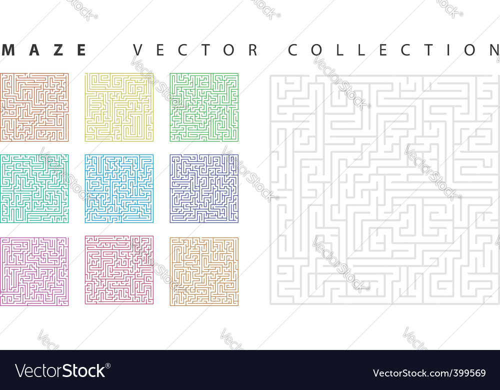 Maze collection vector | Price: 1 Credit (USD $1)