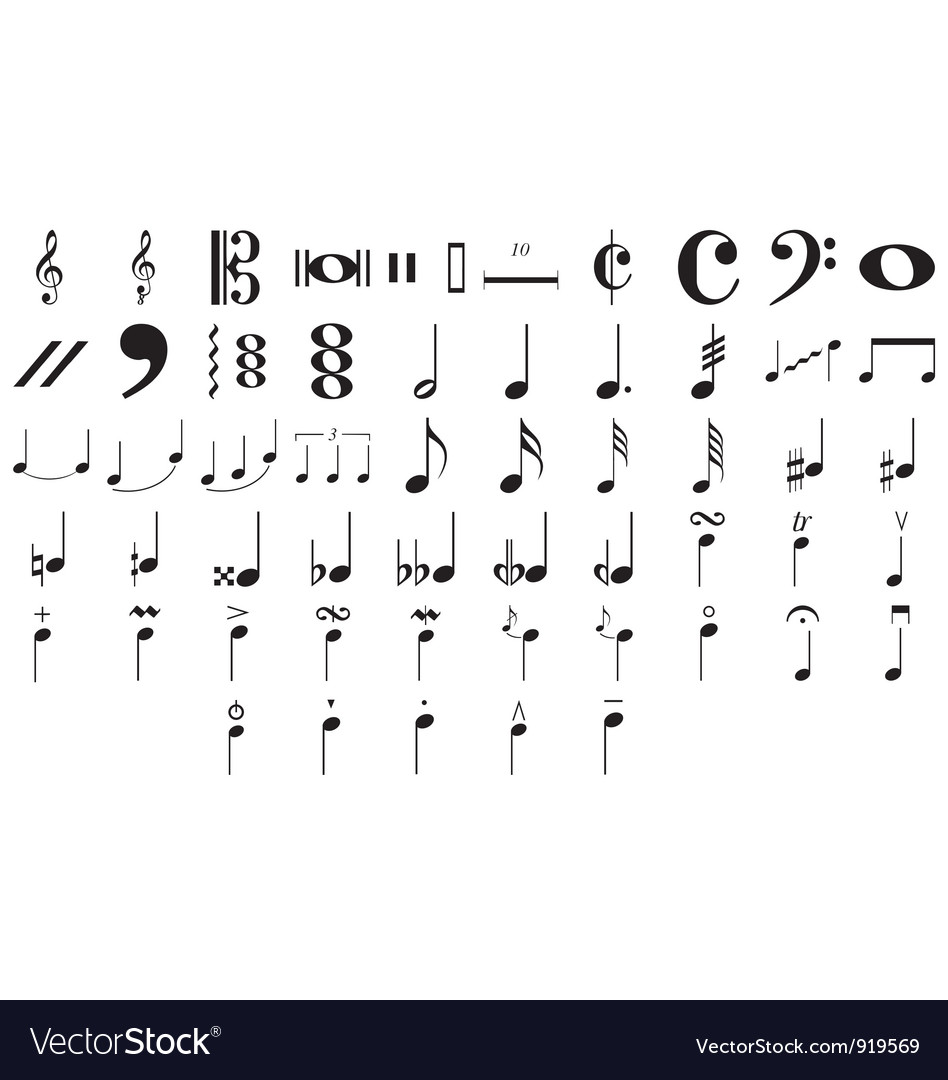 Musical symbols and notes vector | Price: 1 Credit (USD $1)