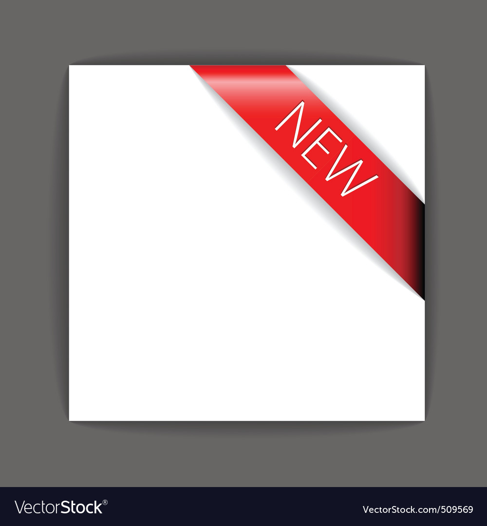 New red corner ribbon vector | Price: 1 Credit (USD $1)