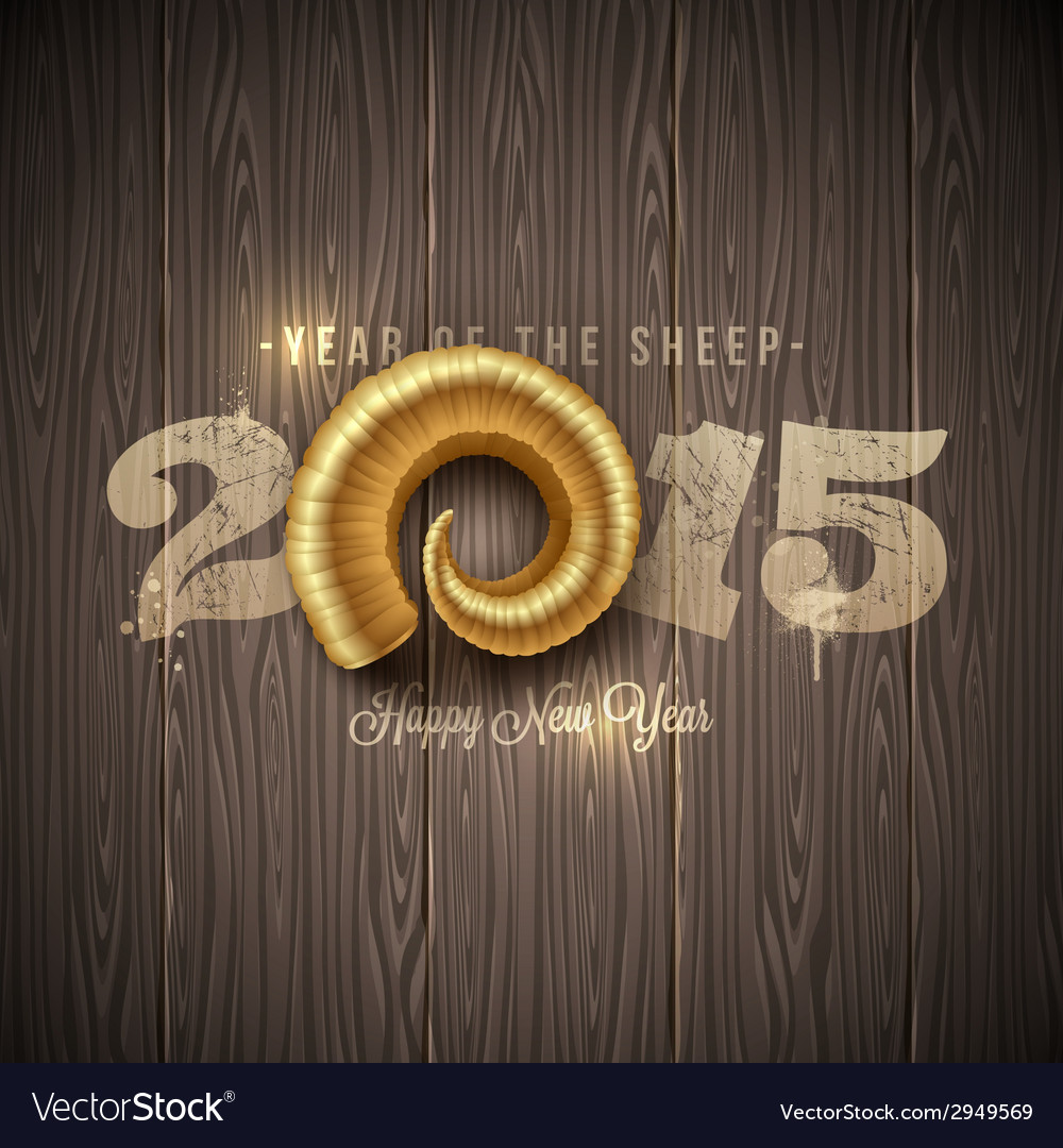 New years greeting with golden horn of a sheep vector | Price: 1 Credit (USD $1)