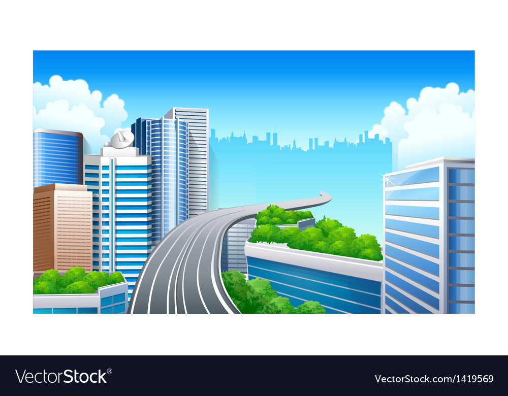 Overpass in city vector | Price: 1 Credit (USD $1)