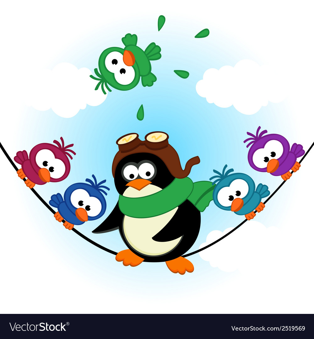 Penguin birds on electric wire vector | Price: 1 Credit (USD $1)