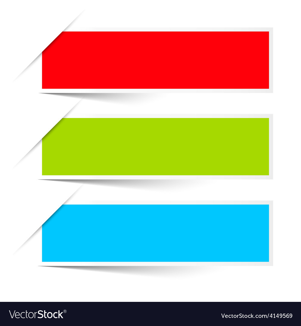 Red green blue empty paper labels set isolated on vector | Price: 1 Credit (USD $1)