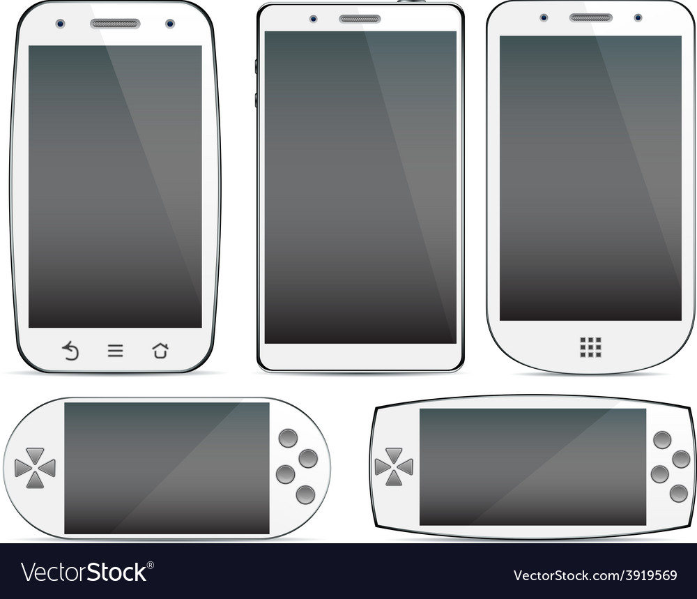 Set of white smartphone concepts vector | Price: 1 Credit (USD $1)