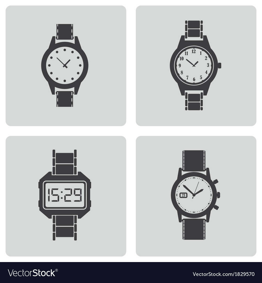 Black wristwatch icons set vector | Price: 1 Credit (USD $1)