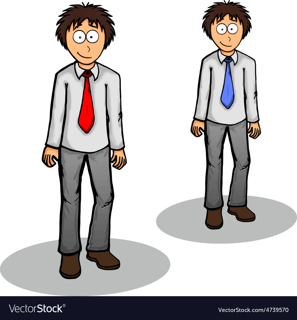Boy standing cute drawing expression friendly vector | Price: 1 Credit (USD $1)
