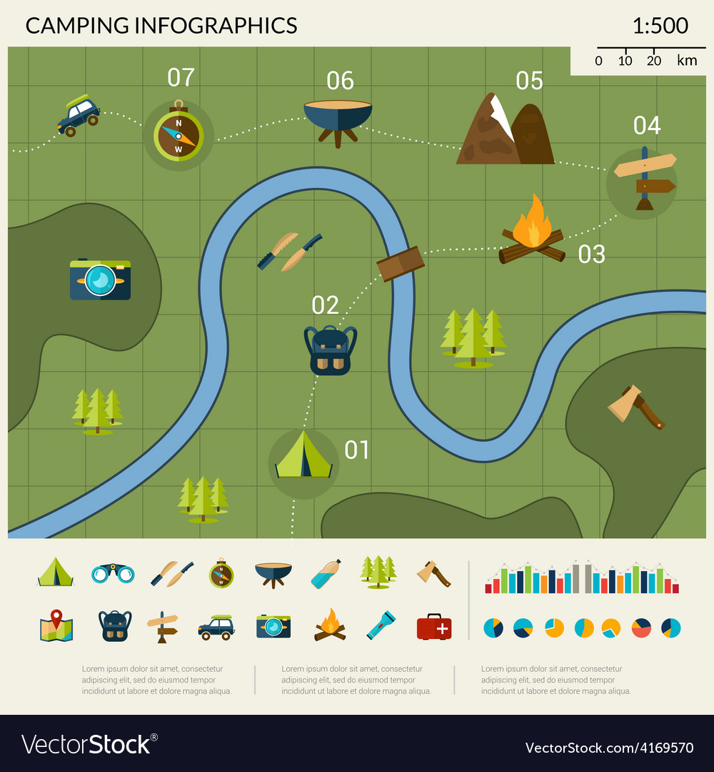 Camping infographics set vector | Price: 1 Credit (USD $1)