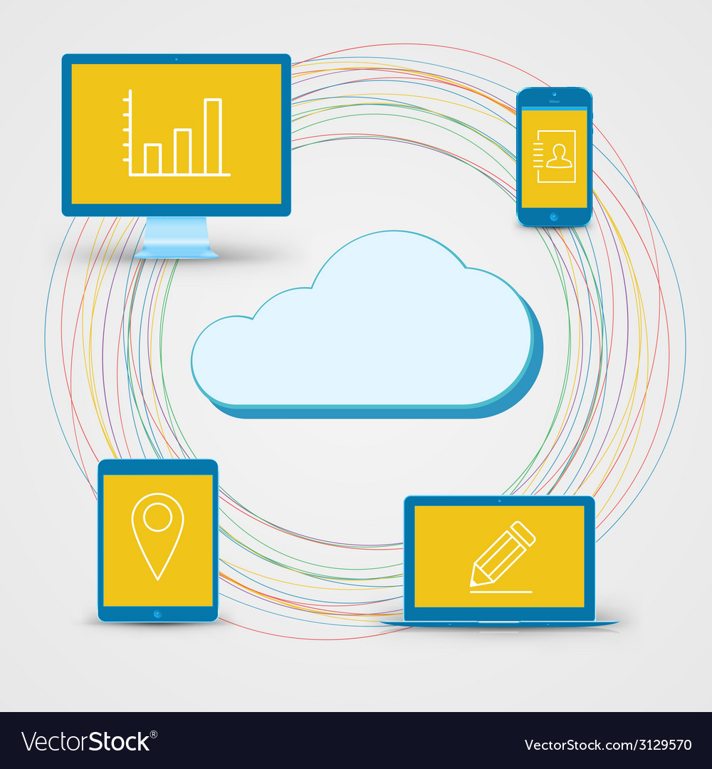 Cloud computing concept background tablet vector | Price: 1 Credit (USD $1)