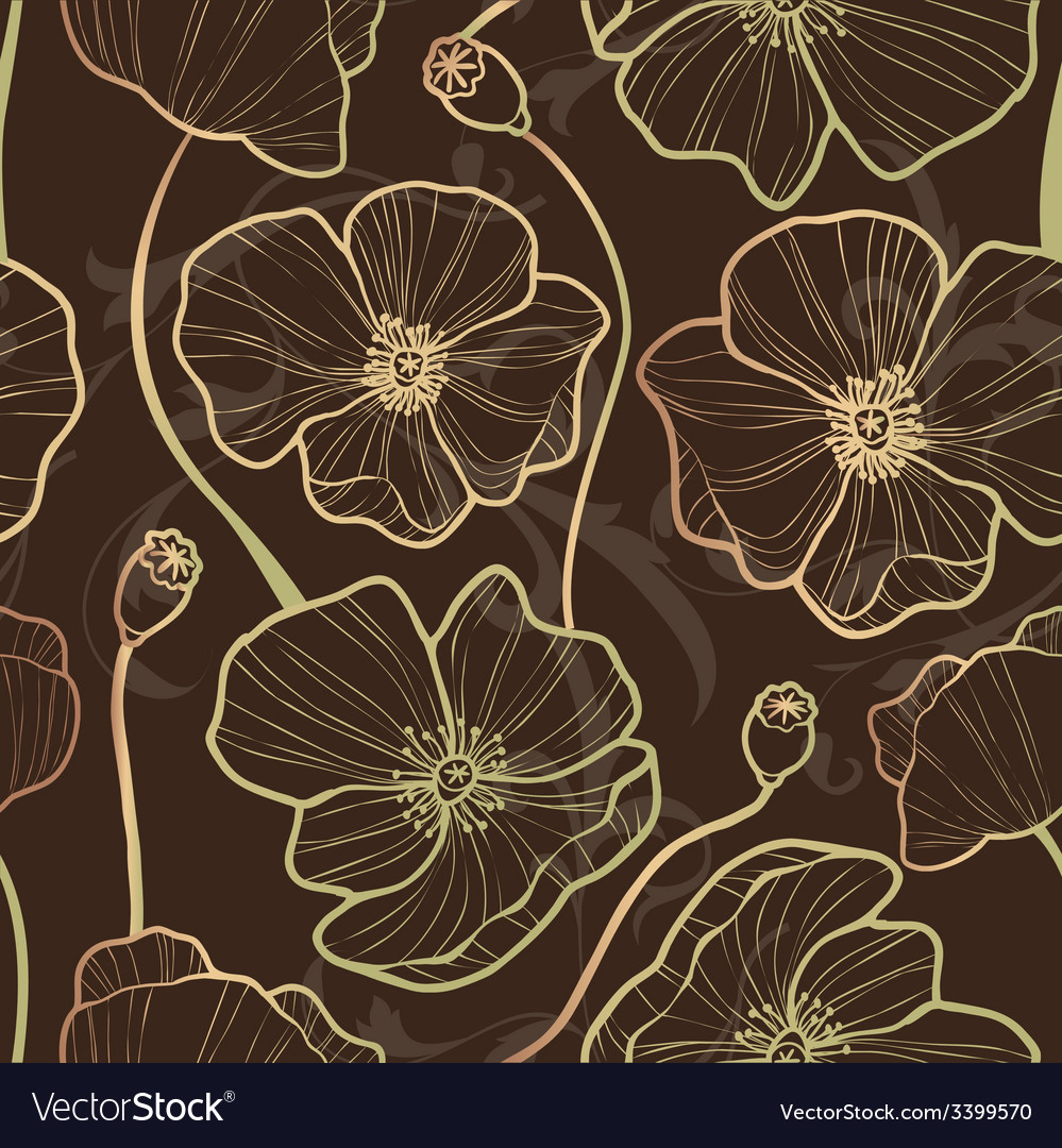 Elegance seamless pattern with poppy vector | Price: 1 Credit (USD $1)