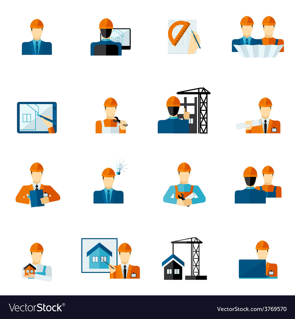 Engineer icons flat vector | Price: 1 Credit (USD $1)