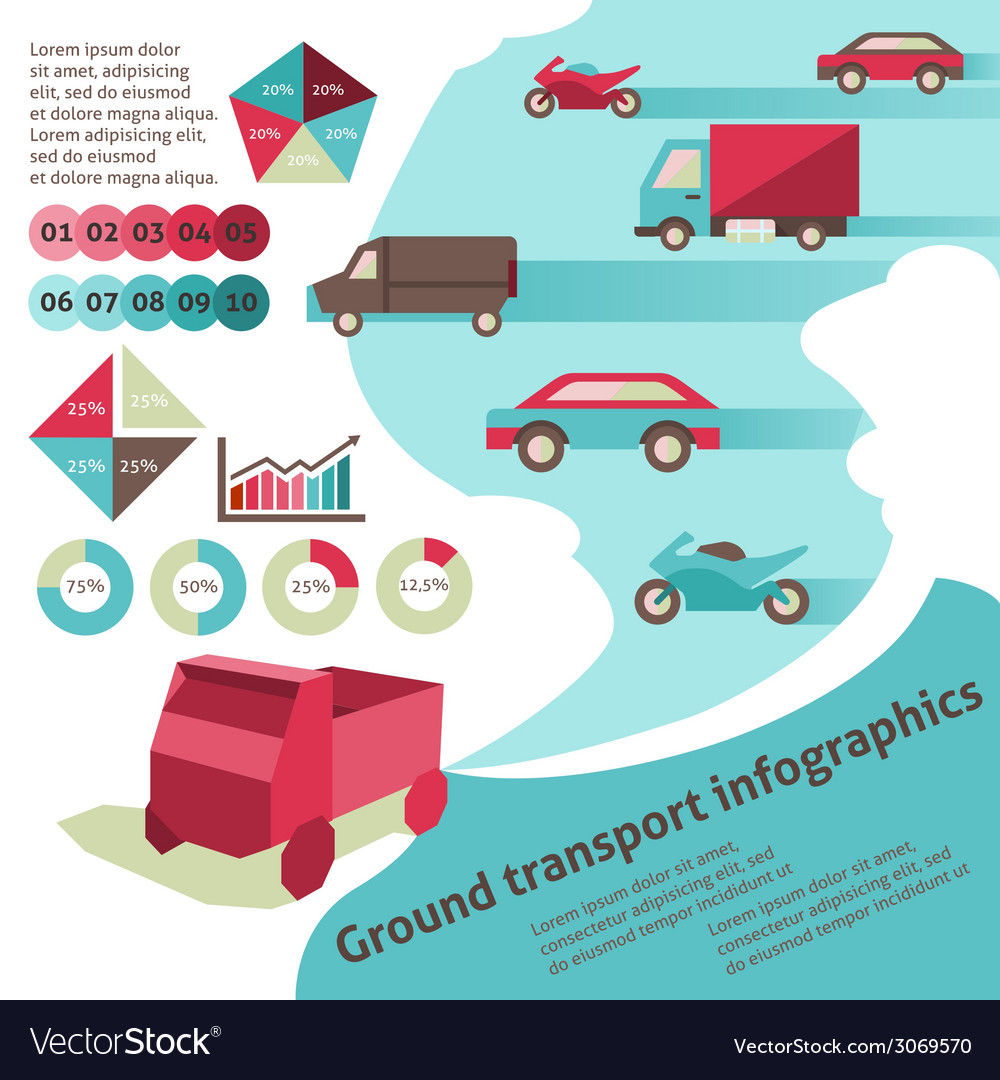 Ground transport infographics vector | Price: 1 Credit (USD $1)